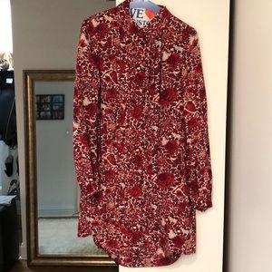 Tory Burch silk floral shirt dress sz 2